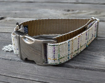 The Union Square Dog Collar - Colorful Cream Plaid - Wool Dog Collar, Adjustable with Metal Buckle