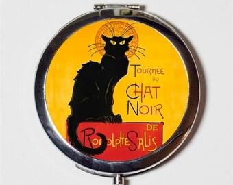 Le Chat Noir Compact Mirror - French Advertisement Parisian Cabaret Paris Black Cat - Make Up Pocket Mirror for Cosmetics