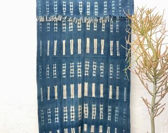 Vintage African Indigo Textile, Indigo Throw African Indigo Fabric Indigo Cloth Indigo Shawl Hand dyed indigo fabric Indigo mudcloth #66