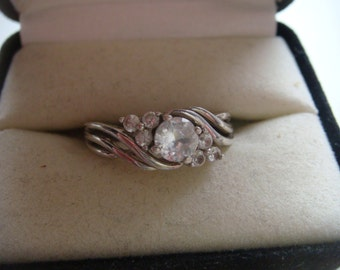 Silver Ring w White Spinel Gemstone