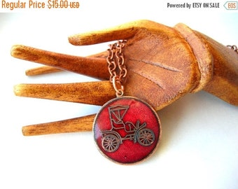 Christmas Sale Copper Car Necklace - Antique Car Necklace - American Underslung Traveler Car  - Gift Idea - Gift for her - Gift for Him
