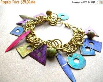Christmas Sale Vintage Bohemian Bracelet - Patina Bracelet - Boho Bracelet - Geometric Charm Bracelet - Colorful Patina Charm Bracelet