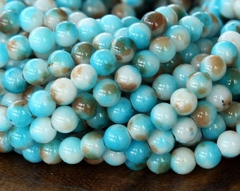 Light Blue and Brown Multicolor Jade Beads, 6mm Round - 15.5 Inch Strand - eMCJ-X08-6