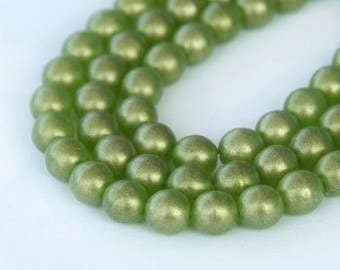 Suede Gold Olivine Czech Glass Beads, 6mm Round- 50 pcs - eMSG5023-6r
