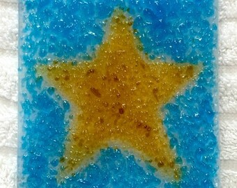 BE A STAR! Fused Glass NightLight Gold & Aqua Blue S01