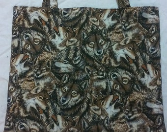 Brown Wolves Fabric Shopping Tote/ Market Bag/ Gift Bag