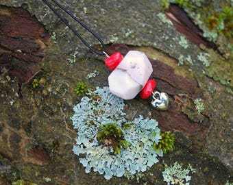 Pink Opal Raw Gemstone Heart Necklace Pendant, Nature Stones Boho Hippie Necklace, Gemstone Necklace, Bridesmaids Gift, Mothers Day Gift