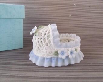 Vintage Ceramic  Baby Cradle for Baby Shower Keepsake or Cake Topper