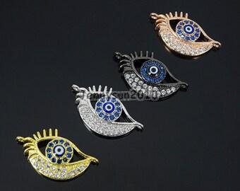 Clear Zircon Gemstones Pave Evil Eye #2 Bracelet Connector Charm Beads Silver Gold Rose Gold Gunmetal