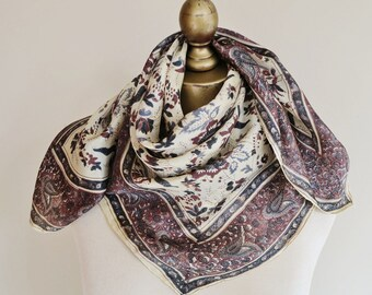 Vintage silk scarf, square silk scarf,traditional silk square. hand rolled, paisley scarf, subtle colours, ladies headscarf, womens hairwrap
