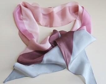 Long silk scarf, Pierre Cardin, tie end scarf, asymmetrical scarf, rose pink scarf, 80s scarves, skinny silk scarf, designer silk scarf