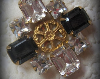 34MM, Swarovski Crystal, Faceted, Rhinestone, Jet, Black Hematite, Octagon, Square, 8 Stone, CB, Brass, Prong, Setting, Brooch,Component,