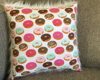 """Donut Pillow in Pink, Dark Pink, Brown and Teal on White Cotton - """"Sweet Dreams"""""""