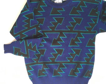80s geometric knit sweater | Le Tigre | size Medium
