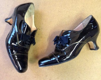 ANYI LU Shoes W omens Size 6.5 handmade in Italy Black Lacquer