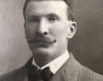 Curly Mustache Victorian Hottie Vintage Photo Cabinet Card