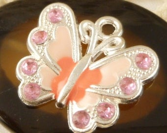 Pastel Light Pink and Peach Enameled Sparkle Butterfly Charms, Silver tone (2)