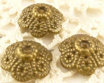 12mm Floral Bead Caps, Antique Bronze Tone (10) - BF4