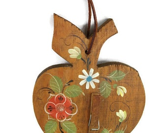 vintage kitchen decor, hand painted folk recipe holder on thick wood in an apple shape
