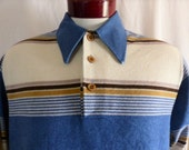 vintage 60's 70's J.C. Penney colorblock horizontal stripe blue grey beige big collar velour long sleeve polo mod disco unisex popover Large