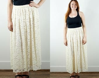 Vintage Lace Maxi Skirt / 1980s Ivory Skirt / Bridal Separates / Long Skirt / Wedding Skirt / High Waist Skirt / Romantic Skirt / Large