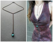 Boho Lariat Necklace - Bohemian Jewelry - Turquoise Necklace - Y Necklace - Boho Drop Necklace - Bohemian Necklace - Layering Necklace