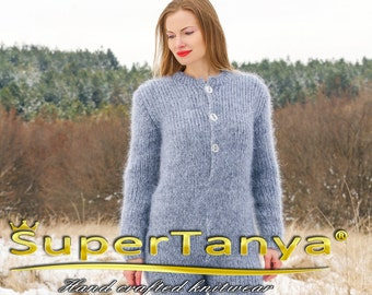 Grey Hand Knitted Mohair Bodysuit Fuzzy Warm Handgestrickte Catsuit by SUPERTANYA on sale - S M size