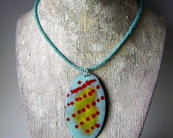 torch fired enamel medallion on turquoise crystal choker necklace, red turquoise yellow modern design, unique linear pattern, AnvilArtifacts