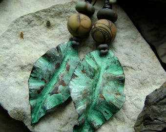 forged metal leaf earrings with cherry creek jasper beads and verdigris patina, metalwork leaves, ooak assemblage earrings, Anvil Artifacts
