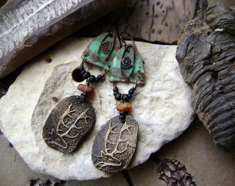 deer earrings with verdigris shields silver charms and amber beads, artisan ceramic deer with antlers, assemblage earrings, Anvil Artifacts