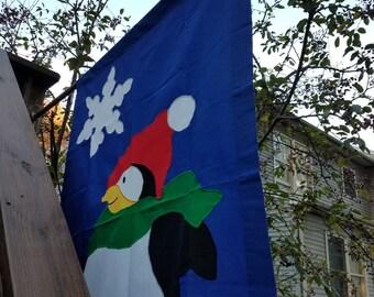 Winter House Flag - Penguin - Snow