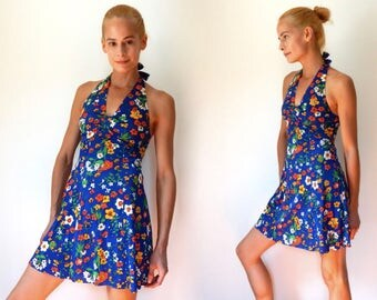 summer dress vintage 70s halter dress blue floral mini dress bold blue dress retro beach boho dress size pinup girl dress flirty XS / S