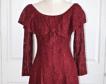 Burgundy Lace Mini Dress . Vintage 1980s 90s Romantic Off Shoulder Boho Romance Short Lacey Dress . Size Small