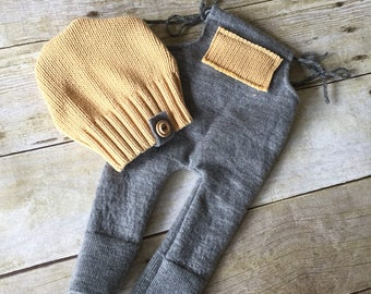 Newborn romper gray and yellow upcycled knit with hat and patches