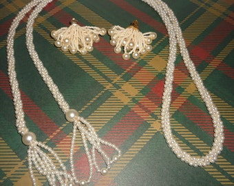 Faux Pearl Rope Necklace & Earrings
