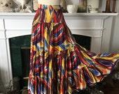 40s Tierd Cotton Abstract Skirt