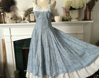 70s Cotton Delight Blue Sundress