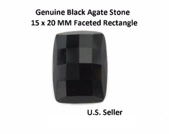 100% Natural Black Agate 15 x 20 MM Faceted Rectangle (Pack of 1)