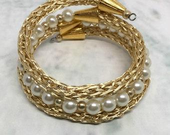Gold and pearl viking knit ladies wrap bracelet