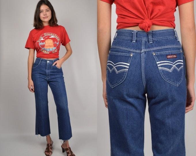 70's Crop Flare Jeans w/ High Waist