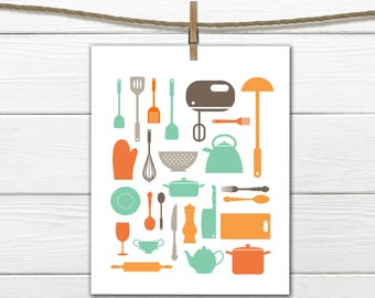 Kitchen Wall Art - Kitchen Utensils Silhouette - Custom Colors - Retro Wall Art