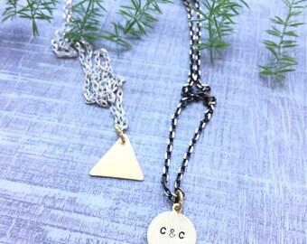 mini initial necklace | personalized handstamped jewelry | geometric brass