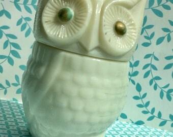 Mid Century 1970s vintage Avon owl container.