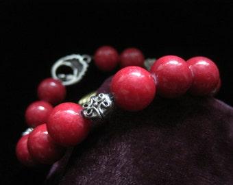 Red Coral Bracelet Silver Toggle Red Stone Beads Jasper Cinnabar Vintage Stones Beaded Dark Gemstone