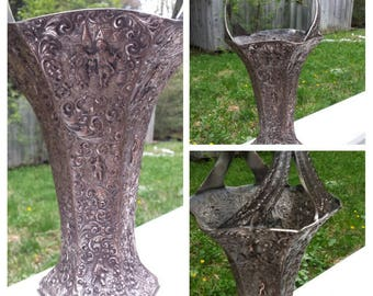 "Victorian Silverplate Wash over Copper Repousse Basket, Barbours.P.Co., 16"" High, Bridal Basket"
