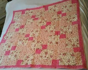 Delicate Petite Roses Quilt/Lap Quilt/Furniture Decor