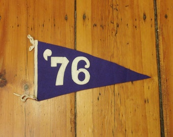 antique 1876 pennant, stitched felt letters '76 not 1976