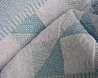 Quilt - Baby Girl Quilt - Precious Blue and White Baby Quilt and Bib and Burp Cloth Set  - Shower Gift for Baby Boy