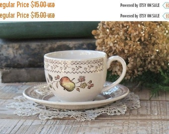 On Sale Johnson Brothers Fruit Sampler Flat Tea Cup and Saucer Set, Vintage Farmhouse Dishes, Wedding, Brown Transferware China