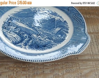 On Sale Blue and White Currier and Ives Royal China Rocky Mountain Ironstone Platter Vintage Replacement China